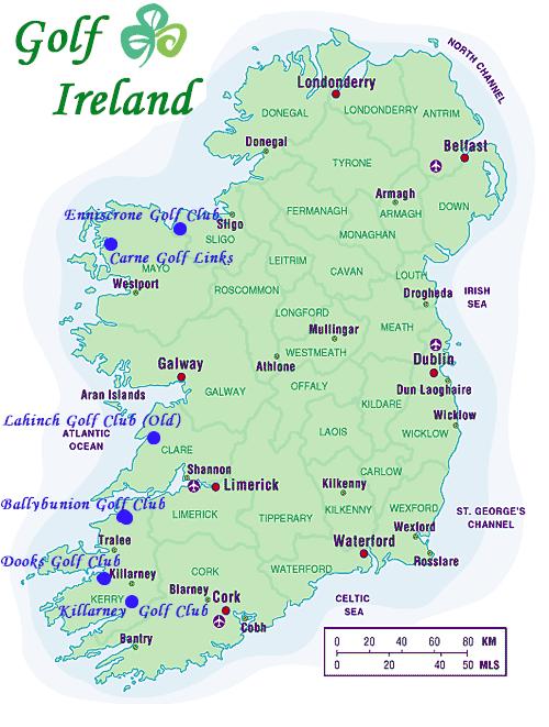 Golf Map Of Ireland.Golf Ireland Introduction Minimum 8 10 People Shamrock Express